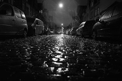 Cobblestones, cars, autumn leaves and nocturnal rain (Black&Light Streetphotographie) Tags: mono monochrome night nightshots urban tiefenschärfe wow water wasser waterdrops wassertropfen rain rainy raindrops dof depthoffield fullframe vollformat sony streetshots streets streetshooting streetportrait street schwarzweis streetphotographie sonya7rii blackandwhite bw blackwhite bokeh bokehlicious blur blurring lichtundschatten lightandshadows