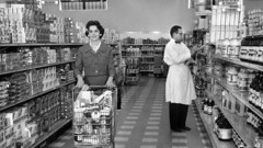 1965 Grocery Shopping (Brett Streutker) Tags: supermarket food store wall mart krogers ap woolworth foomark 1970 1980 1977 1963 1950 1967 kids mom mum shopping with dad nostalgia old days out business closed time muzak shop till you drop dollar tesco iga lion neighborhood school grandma grandpa cart 1970s 1960s 1950s vintage long lost summer job clerk cashier department coffee dairy lane monochrome