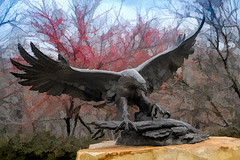 The Eagle has landed (Pejasar) Tags: painterly eagle sculpture artistic watercolor flying landing gilcreasemuseum tulsa oklahoma