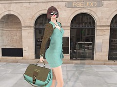 Entrance no.337 (Curiosse) Tags: short dress elegant swirl stamps tote bag 2018 december gift luxeparis turqouise brown bella nice chic