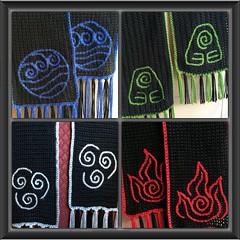 Avatar Four Nations scarves (Lost in the spirit world) Tags: avatarthelastairbender avatar crochet crafts legendofkorra water earth fire air yarn crocheted