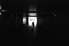 Still in the twilight (pascalcolin1) Tags: paris13 femme woman pénombre twillight tunnel chanel lumière light ombre shadow reflets reflection photoderue streetview urbanarte noiretblanc blackandwhite photopascalcolin 50mm canon50mm canon sac bag sacàmain handbag
