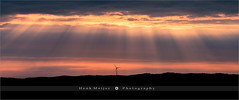 It's lonely at the top - Uddevalla - Sweden (~ Floydian ~ ) Tags: henkmeijer floydian photography sweden uddevalla vastragotland bohuslan sunrays raysoflight scandinavia scandinavian crepuscularrays sunbeams sunbeam splinteredlight godrays evening dusk sunset windturbine westcoast swedish landscape landscapes leefilters canon canon5dmarkiv