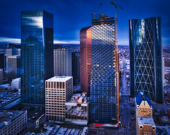 Downtown Calgary (Ray Mines Photography) Tags: ovary alberta canada downtown sunset evening city skyscraper reflection travel tourism street