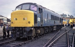 September 1982's Derby works open day with 45103, presumably in for overhaul.  56083 and 25036 can be seen beyond, with APT-P set 370003 far left. (colin9007) Tags: brel derby br diesel sulzer 1coco1 peak class 45 45103