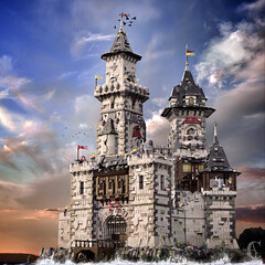 Castell Y Llyn - Complete view (Corvus Auriac MOCs) Tags: lego moc afol castle medieval middle ages building tower art design photoshop water birds landscape