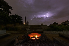 Ring of fire || Cockatoo Island (David Marriott - Sydney) Tags: sydney newsouthwales australia au storm cloud lightning cockatoo island night fire camp glamping