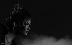 Over the cloud (10 MIX) Tags: blackandwhite secondlife sl lr ps edit monochrome portrait virtual avatar metaverse texture woman hair