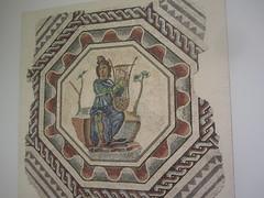 Mosaic of Orpheus playing the harp. CaixaForum, Madrid June 2018 (d.kevan) Tags: mosaic orpheus lyre decoration exhibitions caixaforum ancientinstruments musicalinstruments june2018 madrid spain exhibits