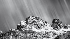 The Sky is falling... (Ody on the mount) Tags: anlässe berge dolomiten em5 experimente fototour gipfel himmel italien le langzeitbelichtung mzuiko40150 nd omd olympus ps schnee stativ südtirol urlaub winter wolken bw clouds monochrome movement sw sky auronzodicadore veneto it