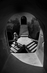 (cherco) Tags: girl chica stairs mosque mezquita lonely indonesian yogyakarta templo surrealism blancoynegro blackandwhite archs arco architecture arc city geometric irreal alone person monochrome composition textura religioso religious holy godown down travel escher
