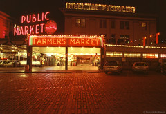 Farmers Market - Seattle - Washington State (Electric Crayon) Tags: pacificnorthwest washingtonstate kingcounty seattle pikestreet market publicmarket farmersmarket downtown city usa unitedstates america neon sign kodak kodachrome 35mm slidefilm minolta 35mmscanner primefilmxa electriccrayon patrickmcmanus