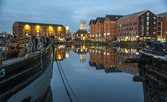 Gloucester Docks & Cathedral (martintaylor6) Tags: warehouse sky water sunset boat dock docks canal city cathedral gloucester