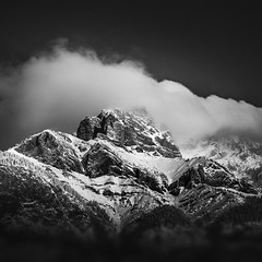 Cascade Mountain Storm No. 2 (Mabry Campbell) Tags: alberta banff canada cascademountain h5d hasselblad blackandwhite dark image landscape longexposure moody mountain photo snow squarecrop f90 mabrycampbell october 2018 october32018 20181003banffcampbellb0002281 80mm ¹⁄₈₀₀sec 100 hc80