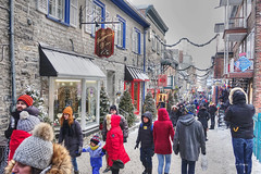Christmas in Old Town-2 (albyn.davis) Tags: canada quebec travel christmas holidays people shopping street colors red decorations snow urban city buildings
