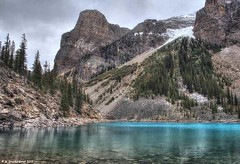 The Tower of Babel at Moraine Lake in Banff National Park (PhotosToArtByMike) Tags: morainelake towerofbabel banff banffnationalpark valleyofthetenpeaks canadianrockies albertacanada mountain mountains emeraldlake tenpeaks bluegreen turquoisecoloredwater