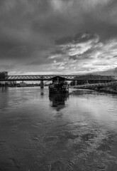 Black and White River (MAKER Photography) Tags: black white monochrome single color colour greyscale river donau bratislava boat bridge sky water clouds cloud city smartphone phone mobile mobilephone oneplus 6
