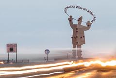 Welcome Back (Philip Brookes) Tags: clown sculpture newbrighton wirral unitedkingdom england britain merseyside thebluehour bluehour lighttrail car sign