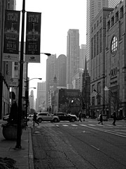The Windy City (coltonmundt@sbcglobal.net) Tags: chicago windycity chitown chi blackandwhite bw photography architecture buildings skyscrapers skyscraper busy street streetphotography traffic