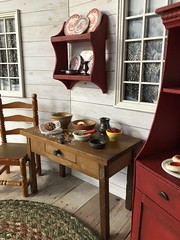 Baking day (Foxy Belle) Tags: doll miniature dishes make handmade ooak diy craft 16 scale food kitchen cottage country rustic charming transferware red white barbie blythe dollhouse furniture cabinet cardboard paper
