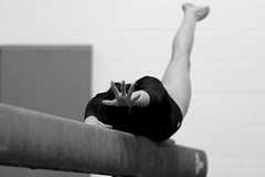 The Beam (stephencharlesjames) Tags: high school sports gymnastics sport action beam middlebury vermont monochrome