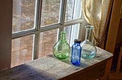 Antiquities (creepingvinesimages) Tags: hww window bottles antiques blue bench barboursville virginia nikon d7000 pse14 topaz