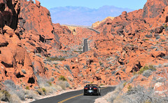 Driving in the Valley of Fire State Park (M McBey) Tags: nevada usa valleyoffire rocks red colourful geology lasvegas
