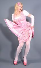 110H2L (klarissakrass) Tags: dirndl pinkdress pinkfashion heels highheels peeptoes pumps legfashion stockings crossdress transgender gurl pinup costume pinkshoes