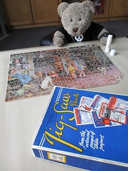 Repair job (pefkosmad) Tags: jigsaw puzzle hobby leisure pastime wood wooden plywood chadvalley illustratednewspapers incomplete missingpieces damage tedricstudmuffin teddy ted bear animal toy cute cuddly plush fluffy soft stuffed vintage 1930s matania