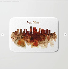 New Orleans watercolor skyline Bath Mat (marianv2014) Tags: neworleans louisiana watercolor skyline skylines skylineart skylinepainting skylineposter skylinedecor aquarelle neworleansdecor brown darkred beige splatters splashes watercolorpainting watercolorskyline cityart citysymbols modernpainting americancities artgifts affordableart illustration artwork art contemporary america decor landmark bath mats