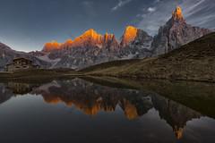Dolomites 5 - Alpenglow in Passo Rollo (Amy in Photoland) Tags: dolomites europe italy mountains alpenglow reflection lake passorollo
