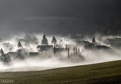 Le village englouti (paul.porral) Tags: mist paysage landscape outside fog brume brouillard flickr ngc natur shadows countryside valley lighthouse weather nature tree mood suisse switzerland jura
