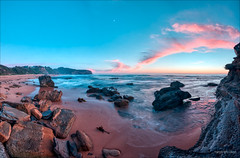 Arc de pink (JustAddVignette) Tags: australia beach clouds colours early firstlight headland landscapes newsouthwales northernbeaches ocean panorama photographer rocks sand seascape seawater sky sydney turimetta water waves