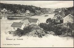 Postkort fra Agder (Avtrykket) Tags: bolighus brygge båt hus postkort tømmer uthus arendal austagder norway nor