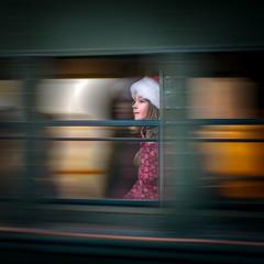 Just Passing By (Yaecker Photography) Tags: girl train window blur retro holiday younggirl santa polarexpress railtown