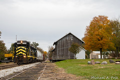 IN 2230 @ Pleasant Lake, IN (Michael Polk) Tags: indiana northeastern emd gp30 freight train fall color tree depot pleasant lake