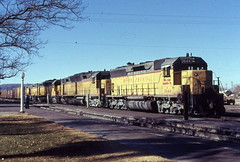 Union Pacific SD45 DD35 and DD35B locomotives at Yermo in 1977 (Tangled Bank) Tags: old classic heritage vintage train railroad railway north american transportation union pacific sd45 dd35 dd35b locomotives yermo 1977