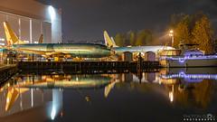 Jets and Yachts (BobbyFerkovich) Tags: bristolsunsetrentonwashingtonlakewashington long exposure water boeing clouds calm