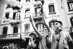 Independence (TransientEye) Tags: leica ilforddelta400 ilfordddx14 ei1600 blackandwhite film 35mmsummiluxf14asphfle leicam7 pushprocessed protest barcelona independence catalunya spain street