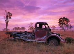 Sunrise Truck (Muzfox) Tags: sunrise truck film kodak ektar100 landscape ipswich queensland color colors pink purple orange red cloud sky rural country