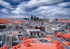 Kansas City (Jon Dickson Photography) Tags: infrared kansas city missouri kc kansascity skies museum ww1 skyline trees architecture