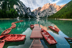 Morning silence (Ellen van den Doel) Tags: 2018 zonsopkomst color di water reflectie italy lake holiday roeibooit morning sky boat boathouse pragser row blauw sunrise meer lago braies berg blue dolomites lucht kleur house boot wildsee italie dolomieten travel reflection mountain prags trentinoaltoadige italië it