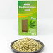 Organic vegan peeled hemp seeds on a plate in front of the packaging on white Background