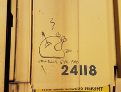 Orwell's Eye Pads - Railroad Monikers (Coastal Elite) Tags: moniker train monikers railroad hobo atlantic canada hoboart hobograffiti streaks railway freight trains tags tagging writing graffiti bench benching transport transportation travel rail road chemindefer voieferrée maritimes halifax novascotia chalk boxcarart boxcars boxcar northamerica turkey cooked meat chicken smoking orwell orwells eye pads bcp food