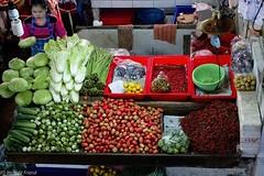 Market - Bird's Eye View (Rich Friend) Tags: market fresh produce vegetables stall food greens tomatoes bangkok thailand asia everyday fuji fujixt2 travel dcoumentary street