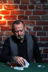 The Gambler (MikeOB64) Tags: studio small beard man mature cards cardplayer gambler smoker