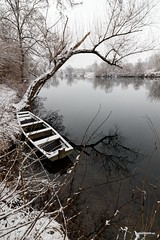 Hidden (malioli) Tags: snow tree boat water river croatia hrvatska europe canon winter