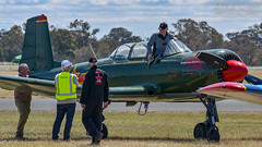 Roolette Reunion (errolgc) Tags: australia aviation bluecamo darkgreen displayteam flightline nanchangcj6 nanchangcj6vhfce nanchangcj6vhfcy reddragonrightnose russianroolettes temoransw warbirdsdownunder2018 rednose