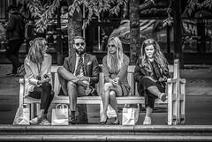 Four on a bench in Kungsträdgården, Stockholm, Sweden 12/7 2017. (photoola) Tags: stockholm kungsträdgården street bänk sv monochrome blackandwhite photoola sweden bench people