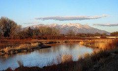 Along the Levee (Patricia Henschen) Tags: alamosacolorado sunset blanca mountain peak alamosa colorado town clouds sangredecristo mountains wetland reflection winter reflections goldenhour riogrande riogranderiver river stateavenue rural levee bridge